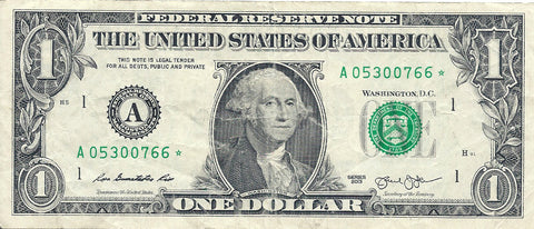 Dollar Bill Star Note Fancy Serial Number 05300766* - Star Note *