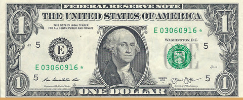 Dollar Bill Star Note Fancy Serial Number 03060916* - Star Note *