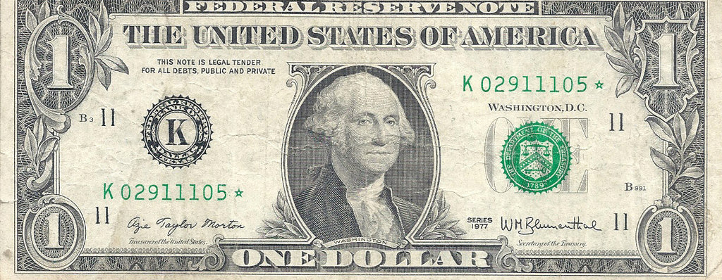 Dollar Bill Star Note Fancy Serial Number 02911105* - Star Note *