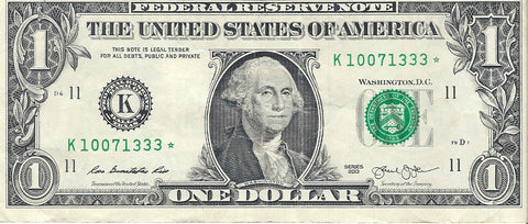 Dollar Bill Star Note Fancy Serial Number  10071333 *  - Star Note *