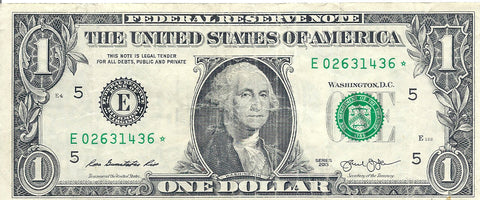Dollar Bill Star Note Fancy Serial Number 02631436* - Star Note *