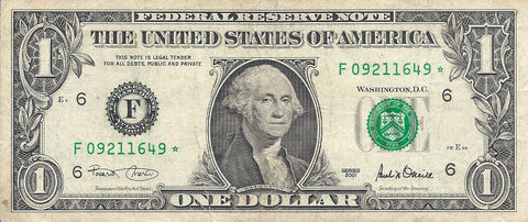 Dollar Bill Star Note Fancy Serial Number 09211649* - Star Note *