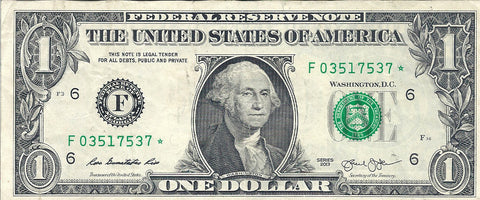 Dollar Bill Star Note Fancy Serial Number 03517537* - Star Note *