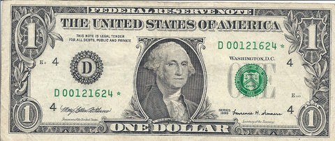 Dollar Bill Star Note Fancy Serial Number 00121624*