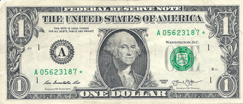Dollar Bill Star Note Fancy Serial Number 05623187* - Star Note *