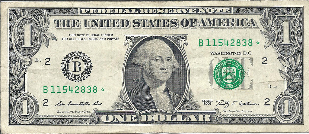 Dollar Bill Star Note Fancy Serial Number 11542838* - Star Note *