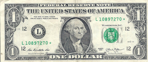Dollar Bill Star Note Fancy Serial Number 10897270* - Star Note *