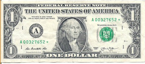 Dollar Bill Star Note Fancy Serial Number 00327652* - Star Note *