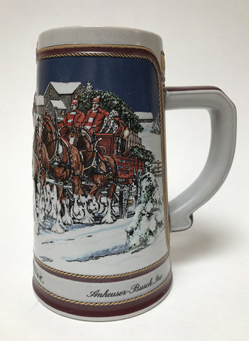 1989  Budweiser Holiday Stein Home for the Holidays