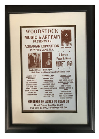 Woodstock August 1969 Music and Art Fair Sepia Print Poster