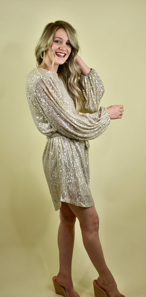 Meant To Shine Dress, Gold