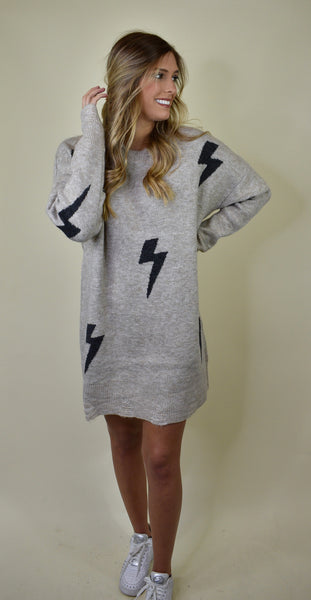 Lightning Strikes Sweater Dress, Khaki