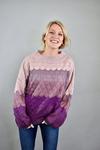 Carefree & Happy Sweater, Eggplant