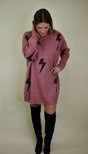 Lightning Strikes Sweater Dress