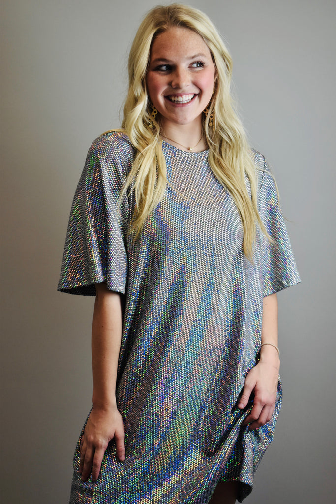 Shine Bright Dress, Grey - Lula and Mae Boutique