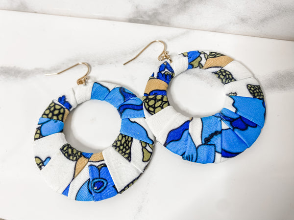 Blue Fabric Earrings