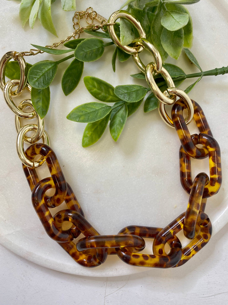 Leopard Acrylic Chain Necklace - Lula and Mae Boutique