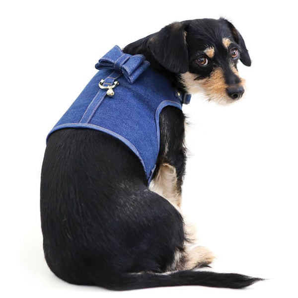 DENIM DOG HARNESS WITH BOW | NAVY DUTY