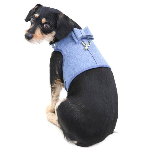 DENIM DOG HARNESS WITH BOW | BLUE SKY