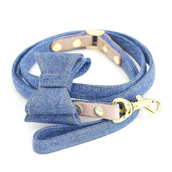 DENIM DOG LEASH WITH BOW | BLUE SKY