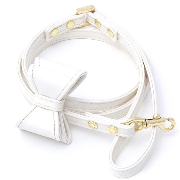 LEATHER DOG LEASH WITH BOW | DIAMOND