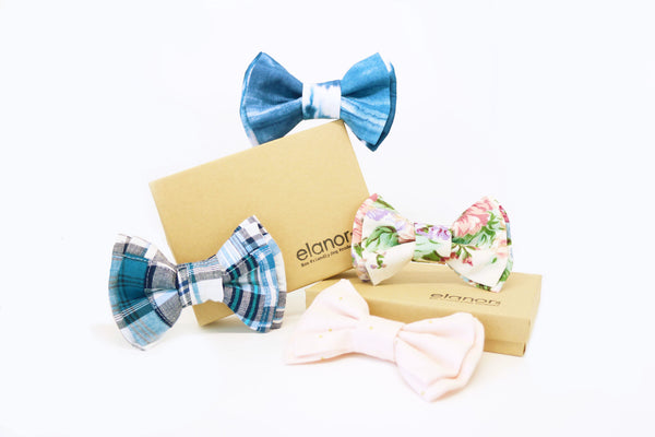 Elanor | Pink Bow Tie With Golden Polka Dots