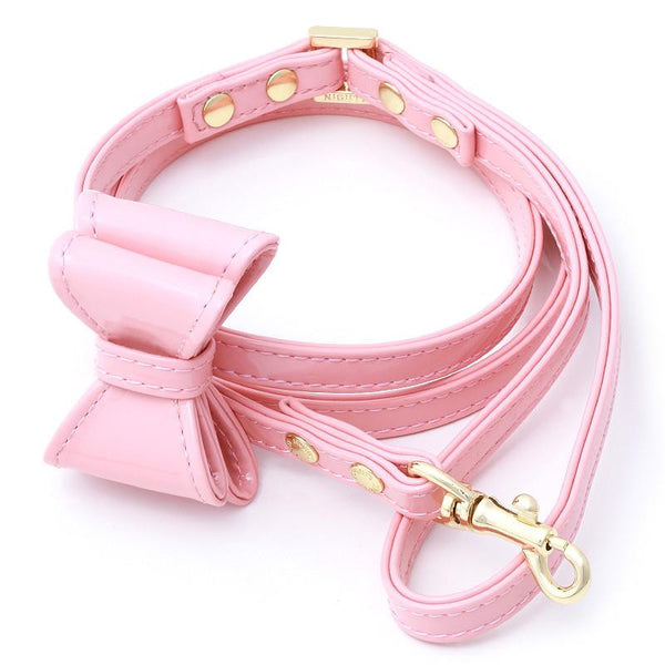 LEATHER DOG LEASH WITH BOW | BABY KISS