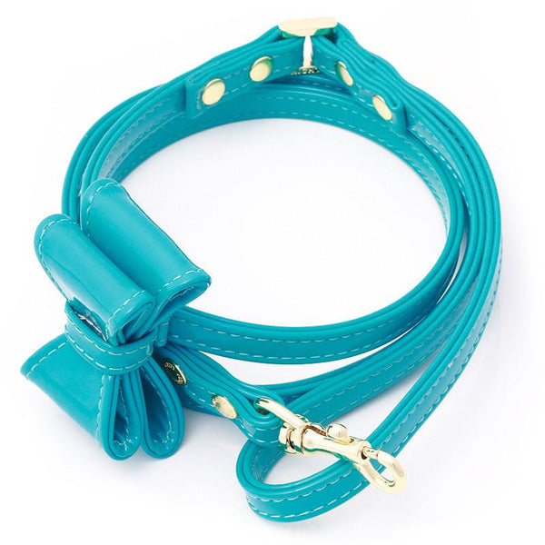 LEATHER DOG LEASH WITH BOW | CALIFORNIA BEACH