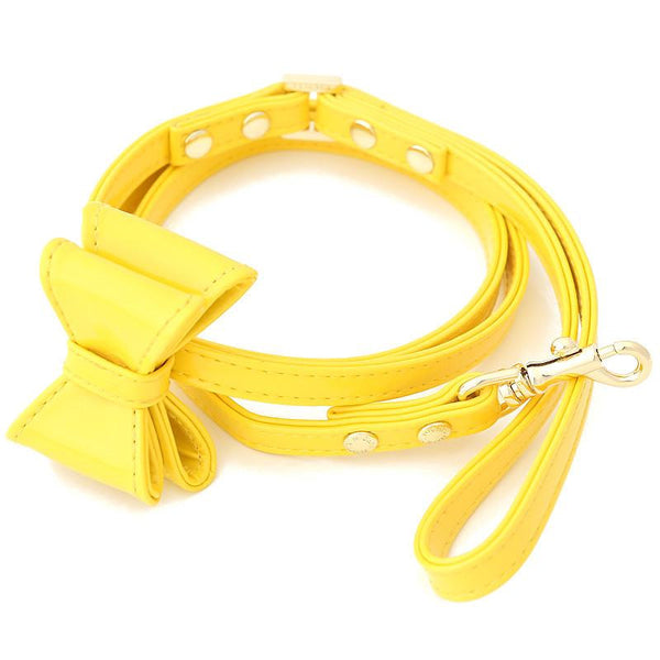 LEATHER DOG LEASH WITH BOW | LITTLE SUNSHINE
