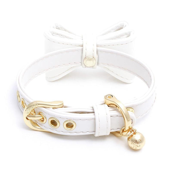 DOG COLLAR SET WITH BOW | DIAMOND