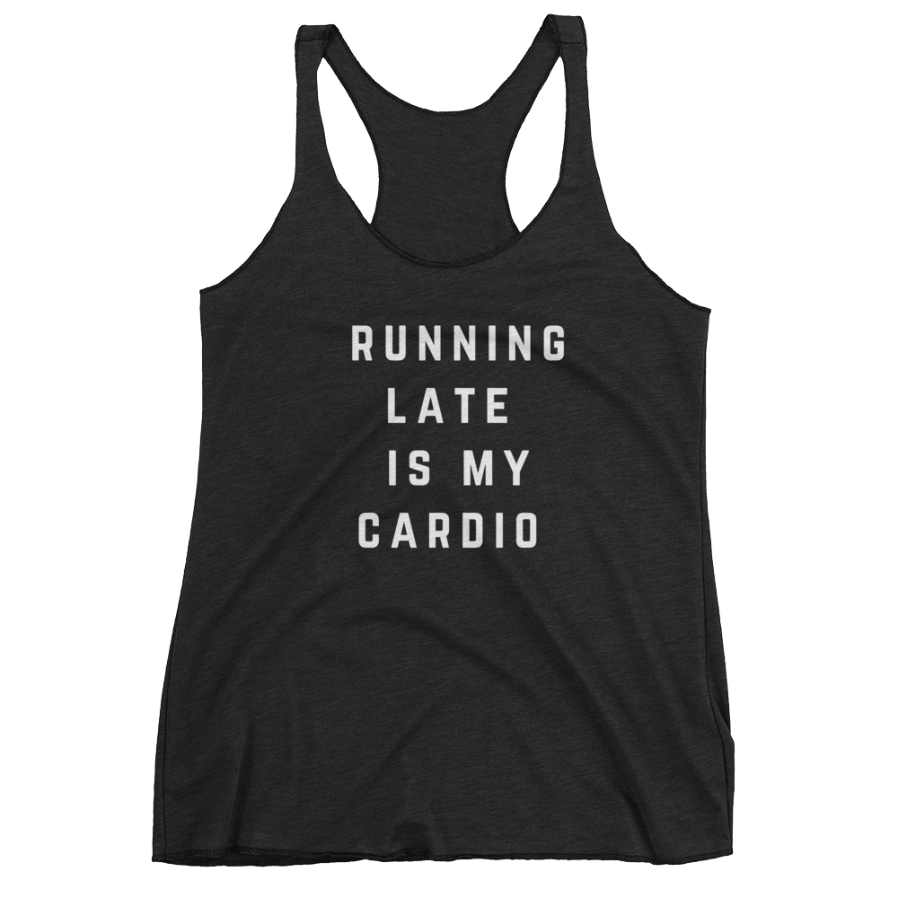 Running Late is My Cardio Tank (Black) - Jac and Lane