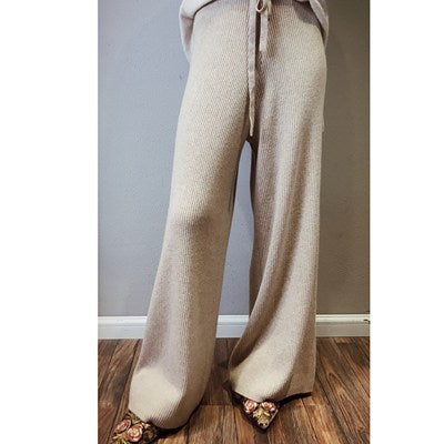 High Waist Cashmere Wide Leg Pants Women's Trousers - Black, Camel, Brown