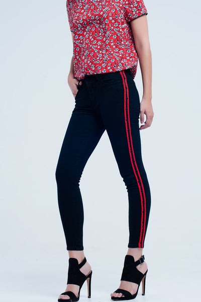 Super Skinny Black Jeans With Red Side Stripes and Eyelets