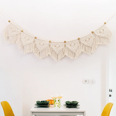 Boho Macrame Fringed Woven Tapestry Mantle Swag, Wall Hanging, Garland, Wedding Decor, Fiber Wall Art, Woven Tapestry for Boho Home, Holidays and Ceremony - 3 different lengths.