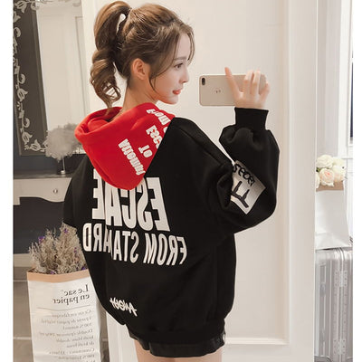 Women's Graphic Hoodie Black, Red, White Oversized Hoodie
