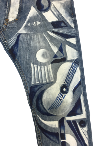 1025-ART-Oil Hand Painted on Denim Artist Custom Made Jean