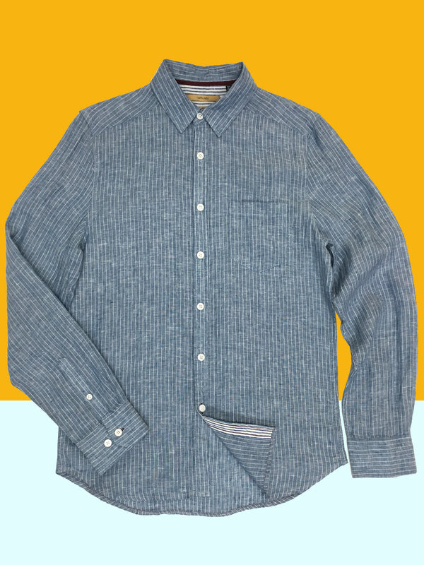 3001 Franklin Shirt White Linen Stripe Chambray