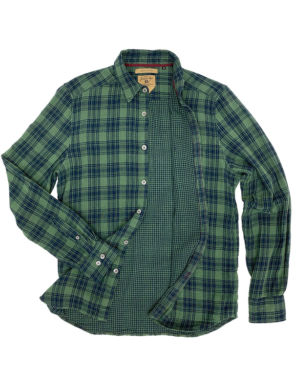 3001 Franklin Shirt Green Navy DF Plaid