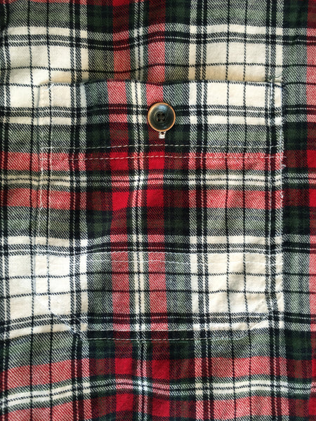 3009-XMS Red Green Natural Flannel Utility Raw Edge Shirt