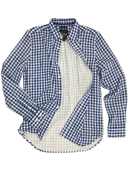 301-HYD1608C#7-Blue Check Doubleface Soft Cotton