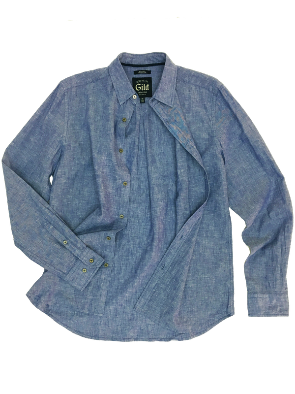 301 Gild Shirt Mid Blue Chambray Linen