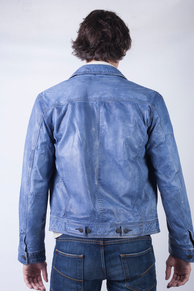 4160-DEV1 Aged Indigo Spring Leather Jacket