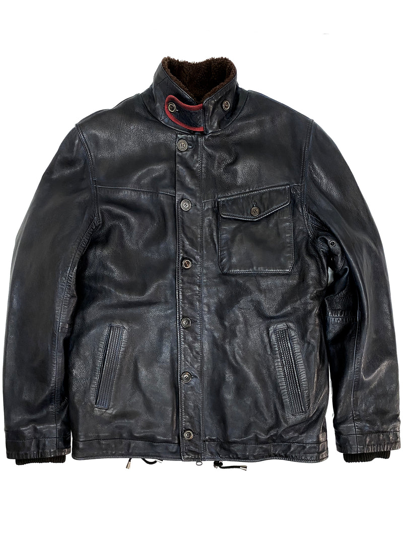 4245 Deck Black Leather Jacket