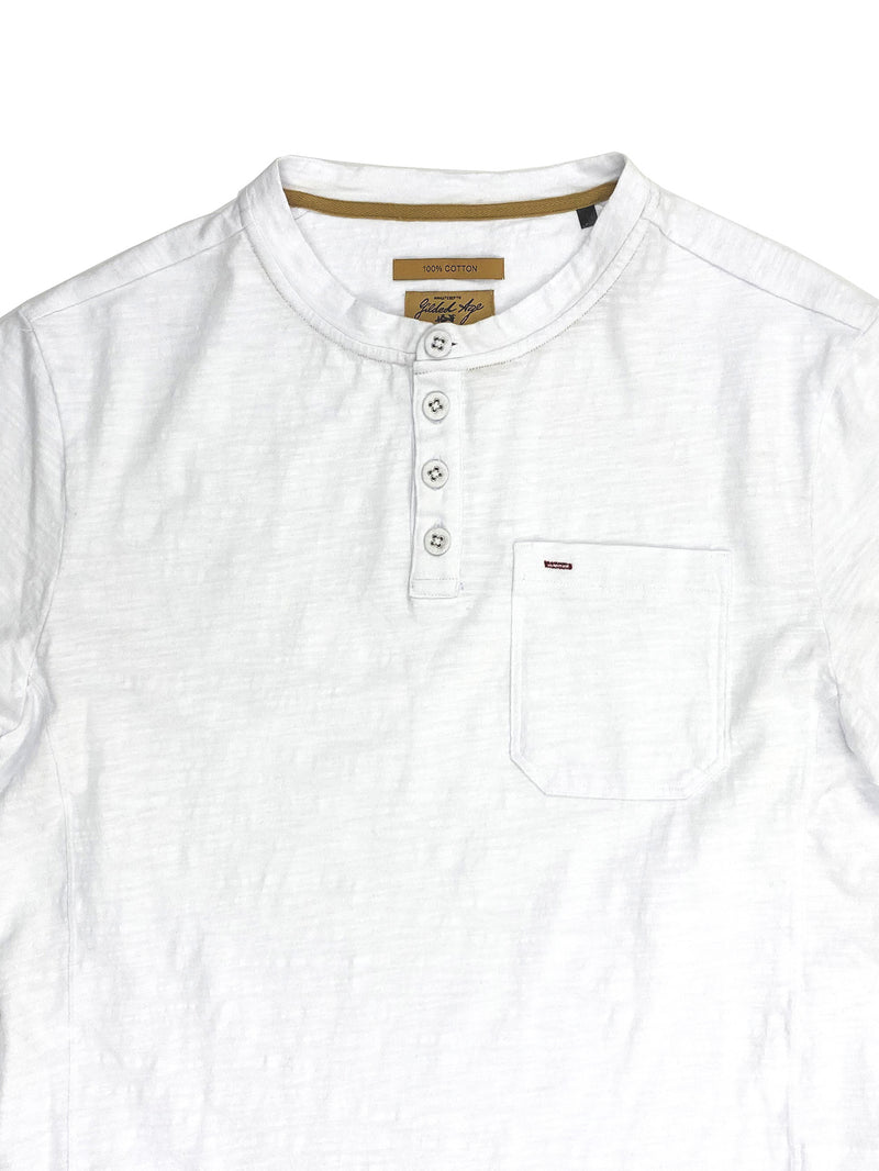 5438 McQueen White 190g Slubby Jersey Pocketed Henley