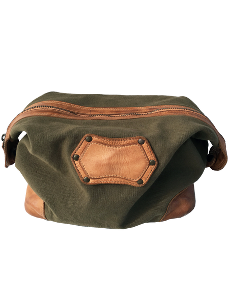 9030 -Canvas & Leather Travel Toiletry Bag