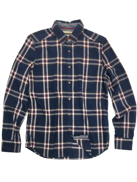 3003-LARGB-Large Blue Brushed Luxe Flannel Plaid Shirt