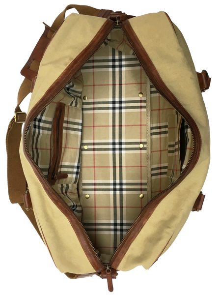 9010-18oz Khaki Canvas with Single Malt Leather Trims Duffel Bag