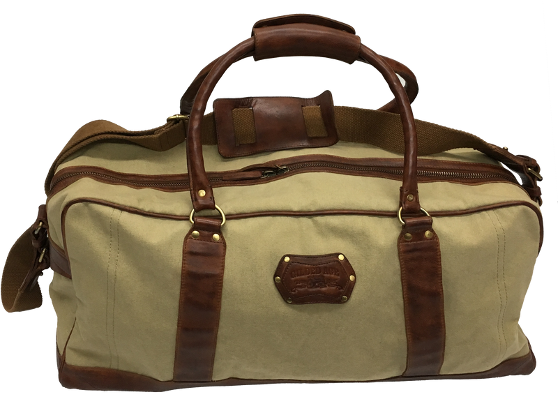 9010 Weekender Duffel Khaki Canvas with Leather