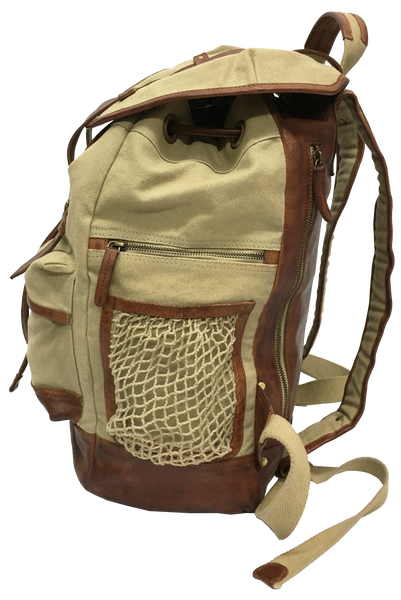 9040 18oz Khaki Canvas with Single Malt Leather Classic Backpack