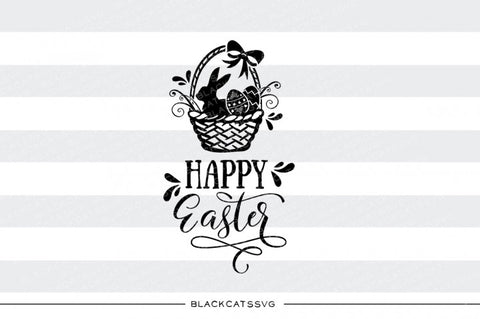 Happy Easter - Basket with bunny and eggs - SVG file Cutting File Clipart in Svg, Eps, Dxf, Png for Cricut & Silhouette